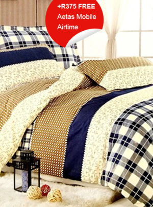 Queen Bedding Blue Checkered Set